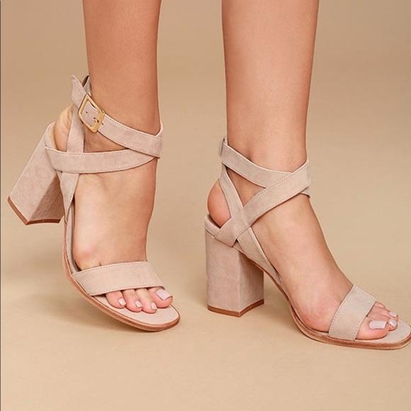 9b4f646219b Rose Blush Genuine Suede Chunky Heel Sandal